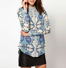Blue Pointed Collar Chiffon Blouse Women Printed Top Button Down Shirt S M L New