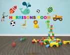 CHILDRENS PERSONALISED WALL ART WITH CARTOON CHARACTERS - various colours / size