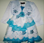 Blue White Glitter Sparkly Flower Girl Wedding Party Prom Pageant Dress 2-14Y