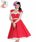 HELL BUNNY 50's MELANIE vintage POLKA DOT rockabilly DRESS RED