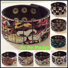 Leather Cuff - 3 Size Adjustable - (3 Rows of Studs) - 7 Styles - U87
