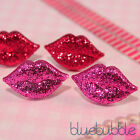 FUNKY GLITTER LIPS EARRINGS DISCO SPARKLY CUTE SWEET KITSCH 70S 80S LOVE KISS ME