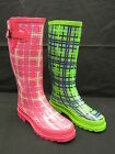 LADIES TARTEN PRINT WELLINGTON 'X1161' GREEN OR PINK