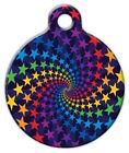 RAINBOW STAR SWIRL - Custom Personalized Pet ID Tag for Dog and Cat Collars