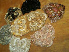 EMBLEM APPLIQUE Glass BEADS on SHEER FAUX STONES 1pc