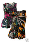 BNWT LADIES/WOMENS BRAVE SOUL PRINTED PEPLUM VEST/TOP  PINK & YELLOW SIZE S/M/L