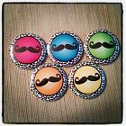 """5 Colorful Mustache 1"""" Button Embellishments for bows and other crafts"""