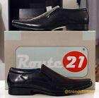 All size 7-11 Mens Route 21 Mens Real Leather formal casual slip on shoes Black
