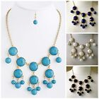 FACETED OPAQUE GEMSTONE BUBBLE INSPIRED NECKLACE & EARRINGS TURQUOISE WHITE BLUE