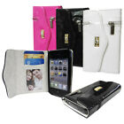 Glossy Leather Purse Wallet Phone Case Cover for Apple iPhone 4S 4