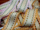 "VINTAGE JACQUARD Rayon SILK 2 3/8"" TRIM Made in FRANCE RIBBON 1yd SCALLOP EDGES"