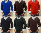 MENS BOYS GIRLS WOMENS V-NECK JUMPER SWEATER NEW COLLEGE SCHOOL UNIFORM WORK