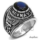 Men's Stainless Steel 316 Simulated Sapphire US Navy Military Ring Size 8-14