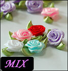 =10 pc Multi Color Choose Rose Satin ribbon Flowers Applique SewOn Organza RF-LR