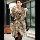 NEW Real Hot Rabbit Fur and Raccoon Fur Vest Gilet Prom Winter With Belt Hood