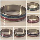SIZE 8.5 - 2 Color -Crystal Powder - Stainless Steel Ring - 6 Styles - U107