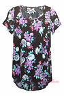 LADIES PLUS SIZE NAVY / PURPLE FLOWER PRINT TUNIC TOP - SIZE 16 - 28