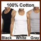 Mens Solid Color Cotton Blend A-Shirt Wifebeater Ribbed Tank Tops Undershirt