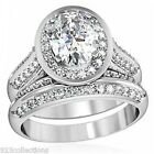 Valentine's Day 8x6 mm Two pcs April Clear CZ Stone Ladies Wedding Ring Set 5-10