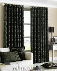 BLACK 90 X 90 THICK HEAVY WEIGHT CHENILLE RING TOP HEADING CURTAINS PERIOD STYLE