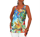 LADIES NEW NEON BUTTERFLY FLORAL BLOUSE VEST TOP SUMMER MULTICOLORED SIZE 10 12
