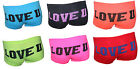 New Womens Ladies Girls Neon LOVE U Print Underwear Hot Pants Brief Boxer Shorts