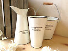 French Cream Metal Jug Enamel Garden Bucket Vintage Shabby Wedding Flowers Vase