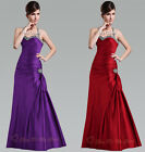 Halter Beaded Prom Dress Bridesmaid Gown Evening Wedding Cocktail Ball Size 6-26