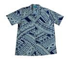 Hawaiian Polynesian Men Waves navy Khaki Cotton Aloha Shirt-M-3XL