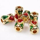 Wholesale Mixed Enamel Colorful Tube Plated Gold Tone Charms Alloy Spacer Beads