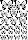 22 BLACK & WHITE Mixed Size BUTTERFLIES Edible Rice Paper Cake Toppers DECORATE