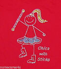 BATON TWIRLING T, CHICS WITH STICKS  RED, CRYSTAL RHINESTONES CRYSTAL, CHILDREN