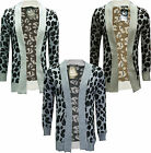 Womens Ladies Leopard Print Knitted Long Sleeve Jumper Open Cardigan S M L XL