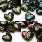 20 Plastic Acrylic 14mm Black Flat Heart Beads with Color Paint Speckles & Gold