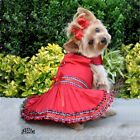 DOGGIE DESIGN Red Tartan Plaid Holiday Christmas Puppy Dog Dress Yorkie Dresses