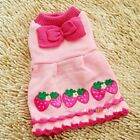cute Pet Dog Puppy strawberry  Dresses Bow apparel clothing coat pink yellow