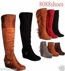 Women's Zipper Buckle Round Toe Ankle Knee High Wedge Boot Shoes Size 5.5 - 10