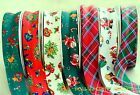 "Christmas Bias Binding 25mm (1"") Soft Polycotton x 4 Metres SANTA TEDDIES TARTAN"