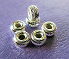 New 4mm 925 Sterling Silver Multi Cut Rondelle Roundel Spacer Beads 6 & 12pcs