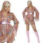 Ladies Hippy Fancy Dress Costume 1960s 60s Hippie Lady Outfit Sixties Dress