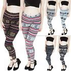 New Ladies Womens Knitted Small Snowflake Pattern Xmas Leggings Size 8 10 12 14