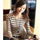 Women's Round Neck Casual T-Shirts Slim Tops Blouse Long Sleeve Stripe Pattern