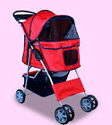 New Deluxe Folding 4 Wheel Pet Dog Cat Stroller Carrier w Cup Holder Tray