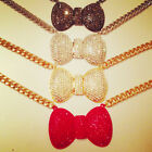 Sparkly Statement Crystal Bow Tie Chain Necklace. Red, Gold, Silver & Hematite