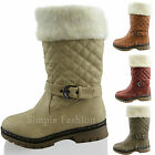 New Girls Fur Lined Buckle Boots Kids Quilted Zip Winter Flat Shoes Size 10 - 2
