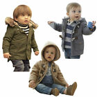 Toddler Baby Boys Winter Zipper Hooded Horn Button Coat Outerwear Jacket 3M-4Y