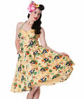 HELL BUNNY 50's SASSY tropical bird DRESS summer SAND