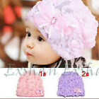 Kids Baby Girls Rose Floral Lace Warm Hat Beanie Cap Bow Princess Flower Hats