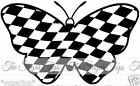 25 x Black & White Chequed Flag Butterflies Edible Decorations Cup Cake Toppers