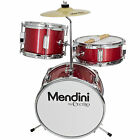 "Mendini 13"" 3-Pieces Junior Kids Child Drum Set Kit ~Black Blue Green Purple Red"